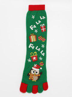 Christmas Owl Full Toe Socks - Clover Green