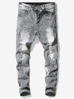 Retro Faded Ripped Wrinkled Jeans - Light Gray 32