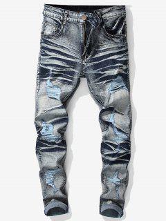 Vintage Ripped Wrinkled Jeans - Denim Blue 34