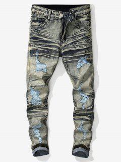 Vintage Ripped Wrinkled Jeans - Cornsilk 36