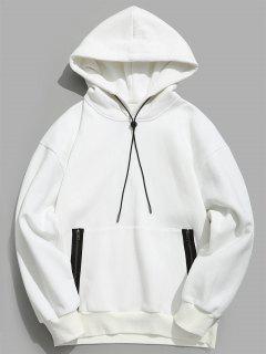 ZAFUL Front Zip Pocket Fleece Hoodie - Milk White S