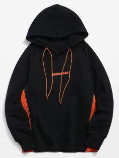ZAFUL Side Zipper Patchwork Contrast Fleece Hoodie - Black L