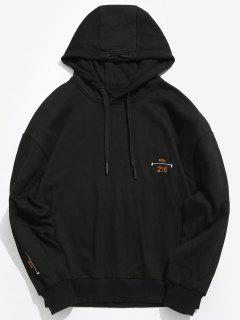 ZAFUL Embroidery Number Casual Hoodie - Black M