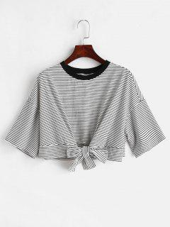 ZAFUL Front Knot Crop Striped Tee - Multi L
