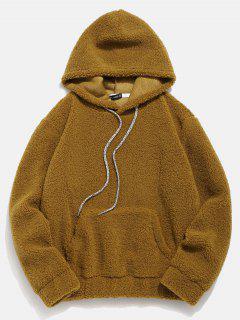 ZAFUL Kangaroo Pocket Faux Fur Hoodie - Cinnamon M