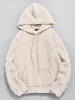 ZAFUL Kangaroo Pocket Faux Fur Hoodie - Warm White M