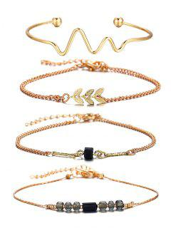 4 Pcs Wave Feather Beaded Alloy Bracelet Set - Gold