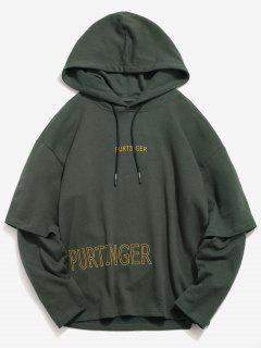 ZAFUL Embroidered Letter False Two Piece Hoodie - Dark Forest Green L