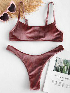 ZAFUL Velvet High Leg Bikini Set - Rose Gold L