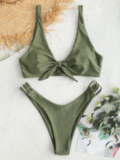 ZAFUL Plunge Knot Ladder Strap Bikini Set - Camouflage Green L