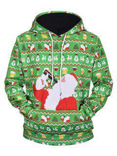 Drinking Santa Claus Print Drawstring Hoodie - Seaweed Green M