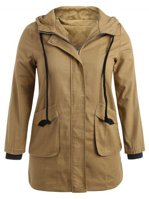 online Hooded Plus Size Twill Trench Coat - CAMEL BROWN 3X Mobile