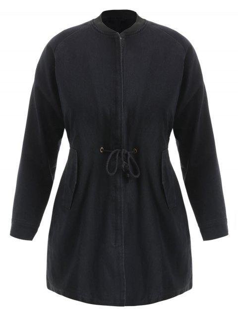 Manteau Zippé de Grande Taillle à Cordon - Noir 3X Mobile