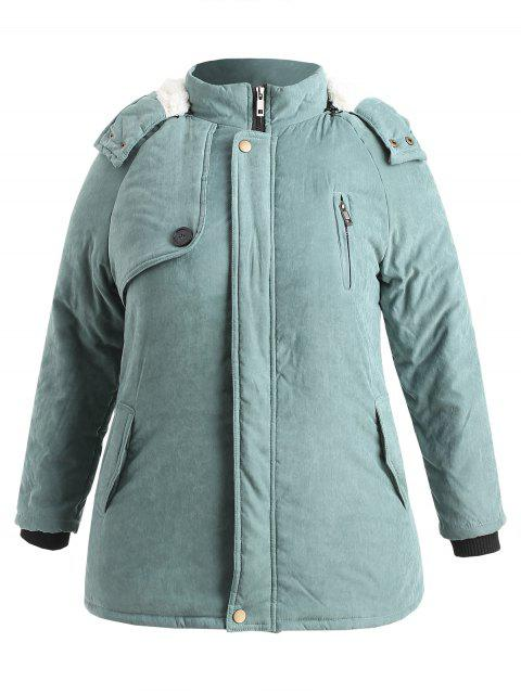 fashion Zip Up Plus Size Sheepskin Coat - CYAN OPAQUE 3X Mobile