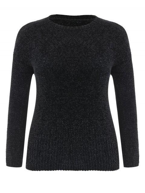 Suéter de terciopelo con hombros descubiertos de talla grande - Negro 2X Mobile