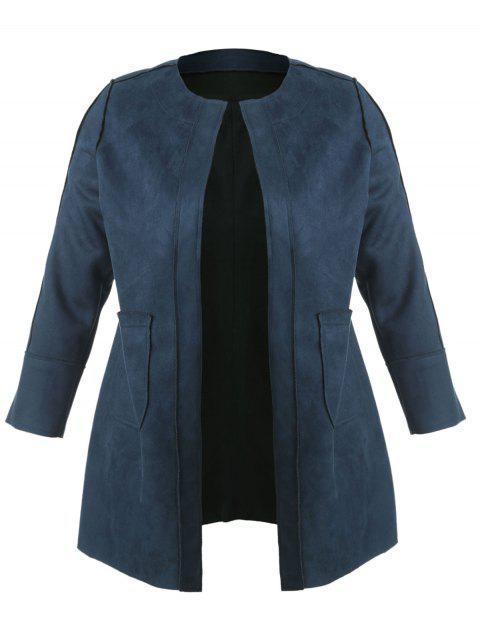 fashion Open Front Faux Suede Plus Size Coat - PEACOCK BLUE 2X Mobile