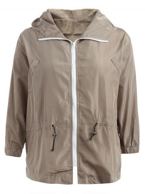 Talla grande con capucha, chaqueta con cremallera - Caqui Claro 2X Mobile