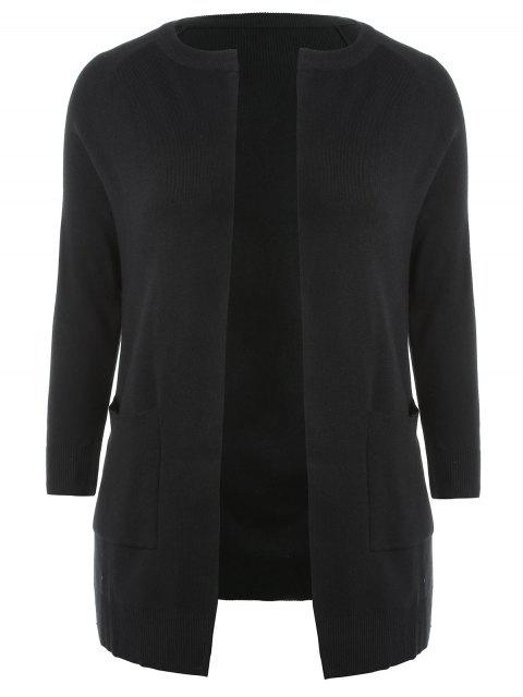 sale Plus Size Two Tone Open Cardigan - BLACK 3X Mobile