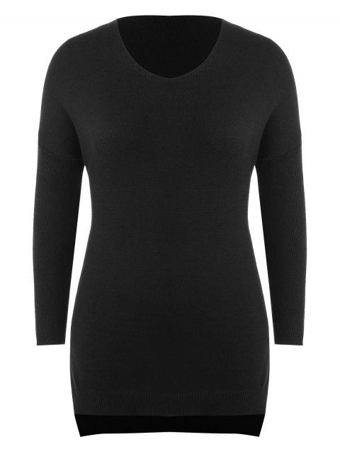 lady Plus Size Side Slit Longline Sweater - BLACK 1X Mobile