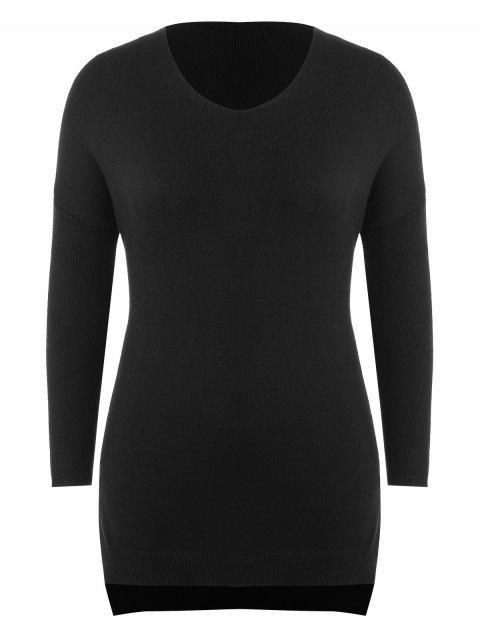 best Plus Size Side Slit Longline Sweater - BLACK 2X Mobile