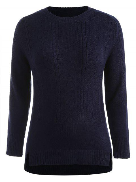 affordable Plus Size Slit High Low Sweater - MIDNIGHT BLUE 4X Mobile