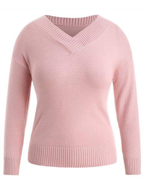 Suéter liso con cuello en V y talla grande - Rosa Claro 4X Mobile