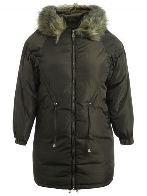 Plus Size Kapuzen gesteppte Zip Coat - Armeegrün 5X Mobile