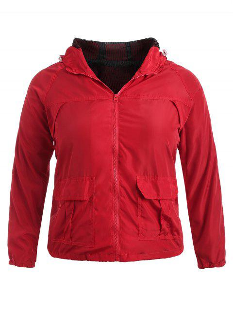 fancy Plus Size Side Stripe Track Jacket - RED 1X Mobile