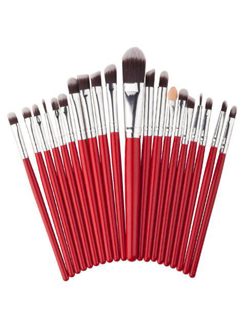 new 20Pcs Fiber Hair Silky Eyeshadow Eyebrow Liquid Foundation Cosmetic Brush Collections - RED  Mobile