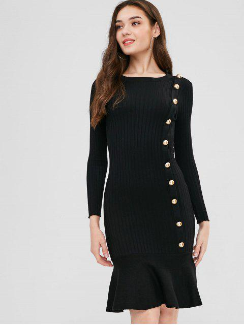 shop Buttoned Sweater Mermaid Dress - BLACK ONE SIZE Mobile