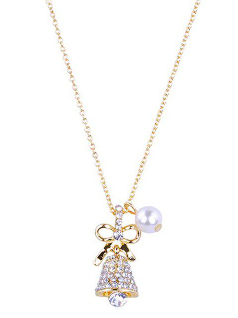 shop Sparkly Rhinestone Christmas Bell  Necklace - GOLD  Mobile