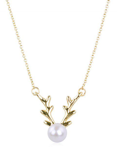 fancy Elegant Faux Pearl Elk Pendant Necklace - GOLD  Mobile