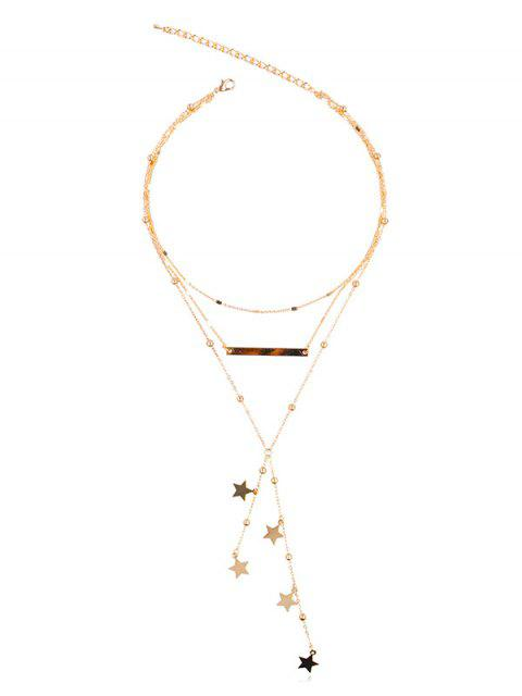 affordable Stylish Multi Layers Star Alloy Necklace - GOLD  Mobile