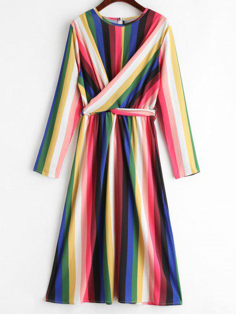 Drapiertes Regenbogengestreiftes Kleid - Multi M Mobile
