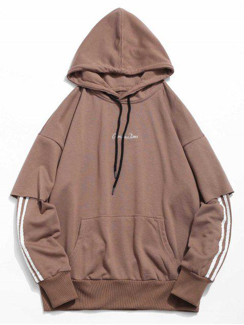 women Embroidery False Two Piece Hoodie - COFFEE 2XL Mobile