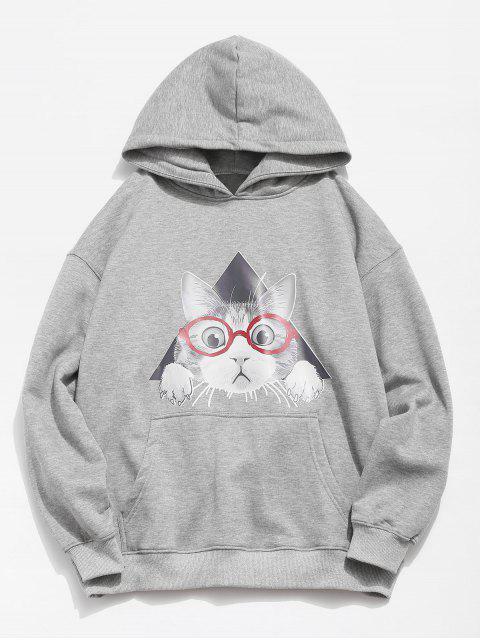 online Cat Pattern Print Hoodie - GRAY CLOUD 2XL Mobile
