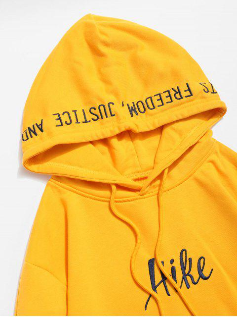 shop Side Split Embroidery False Two Piece Hoodie - YELLOW M Mobile