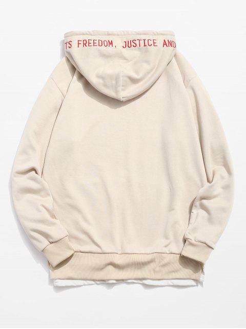 fashion Side Split Embroidery False Two Piece Hoodie - LIGHT BROWN L Mobile