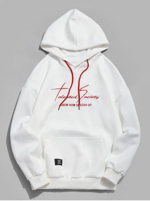 affordable Kangaroo Pocket Letter Print Sweatshirt - WHITE L Mobile