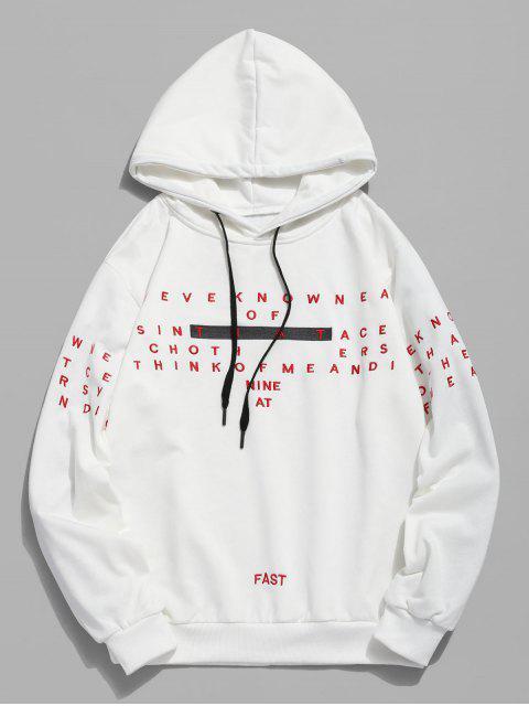 Brief Stickerei Kapuzen-Sweatshirt - Weiß 2XL Mobile