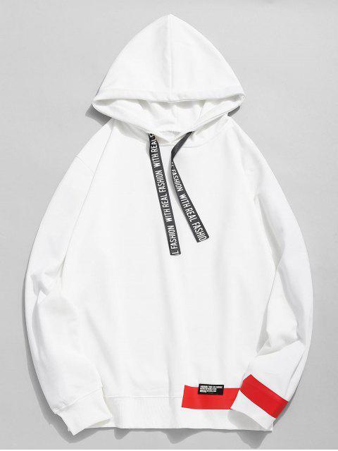 Sweat à Capuche Embelli de Ruban Lettre Imprimée - Blanc M Mobile