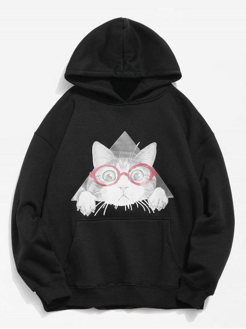 Sweat à capuche motif chat - Noir S Mobile