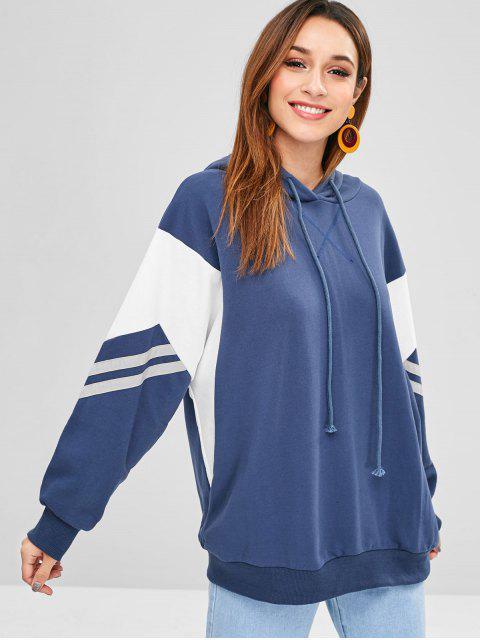 Bloque de colores de rayas con capucha de gran tamaño - Azul Mármol S Mobile