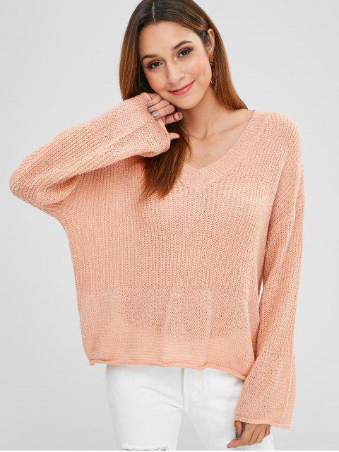 Suéter con cuello caído en V - Rosa Naranja Talla única Mobile