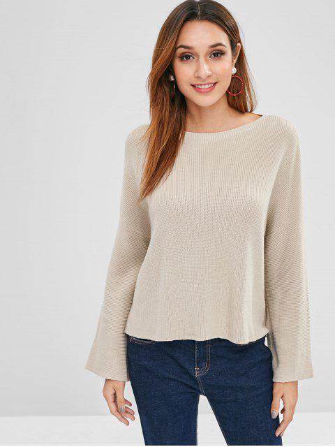 Suéter de hombro alto bajo caída - Caqui Claro Talla única Mobile