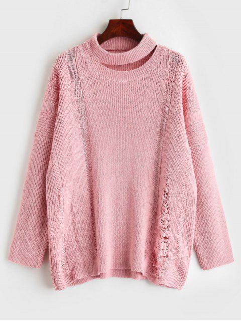 Suéter desgastado recortado de gran tamaño - Cerdo Rosa L Mobile