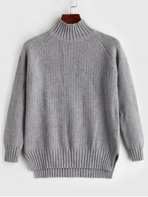 Cuello alto falso suéter de corte bajo - Gris Talla única Mobile