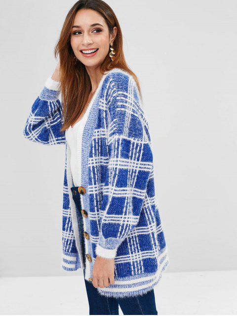 best Lantern Sleeves Buttoned Plaid Cardigan - BLUE ONE SIZE Mobile