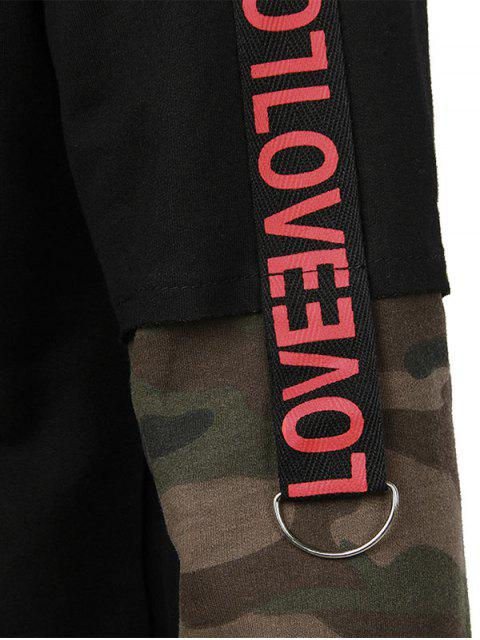 chic Letter Camo Sleeve Pullover Hoodie - BLACK L Mobile