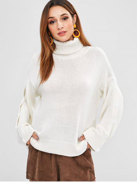 lady Buttoned Split Sleeve Turtleneck Sweater - WHITE ONE SIZE Mobile